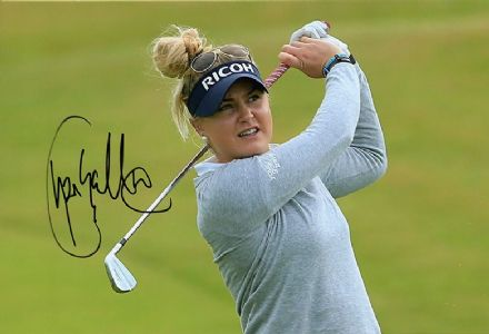 Charley Hull, English golfer, signed 12x8 inch photo.